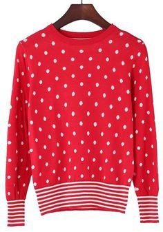 White Polka Dot Striped Wrap Cotton Blend Sweater