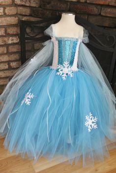 Queen Elsa Inspired Winter Snowflake Sequin Tutu Dress on Etsy, $60.00