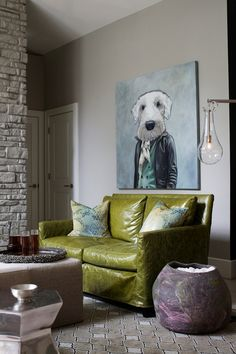 decor, interior, living rooms, dogs, green, dog portraits, dog paintings, dog art, leather couches