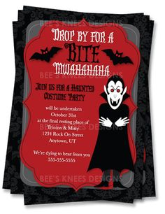 Halloween Party Invitation Customized Costume Party