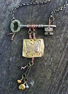 Butterfly and Skeleton Key Necklace by LadyForge