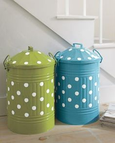 Garnet Hill Storage Canister. Perfect for storage of basically anything and cute enough to put any where in your room.  Could also work as a trash can or recycling bin.