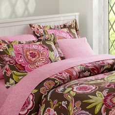 Pink, Green, Brown Bedding from PB Teen