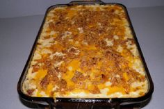 Hash Browns Hamburger Casserole - my recipe called for the dried onions on top - yummy!