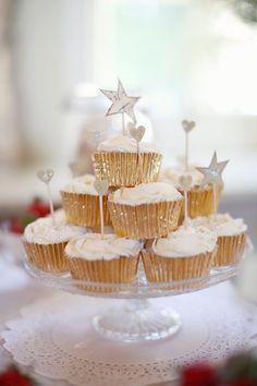 Gold Cupcake Wraps -- DIY -- More on Style Me Pretty: http://www.stylemepretty.com/little-black-book-blog/2012/11/19/edinburgh-scotland-wedding-from-craig-eva-sanders-photography/   Craig & Eva Sanders Photography