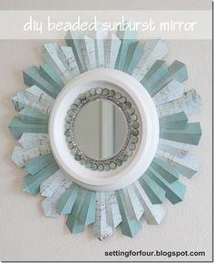 Home Decor Tutorial - DIY Beaded Sunburst Mirror from Setting for Four
