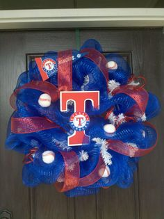 Texas Rangers Mesh Wreath
