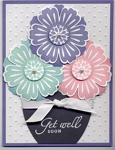 stamp sets, color combos, get well soon cards, mix bunch, flower pots, card stock, paper crafts, well card, mixed bunch cards
