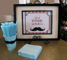 Decorate the cups at your little man's baby shower with a paper mustache cut-out.