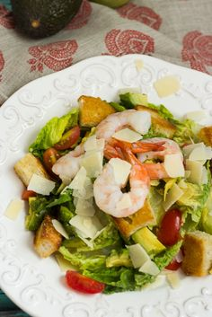 Shrimp Avocado Caesar Salad #WeekdaySupper #ChooseDreams from The Girl In The Little Red KItchen