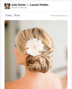 BRAIDED TWIST UPDO    Isn't this one gorgeous? The braid and flower are a super-chic way to add a modern twist to an otherwise classic updo  Isn't this one gorgeous? The braid and flower are a super-chic way to add a modern twist to an otherwise classic updo