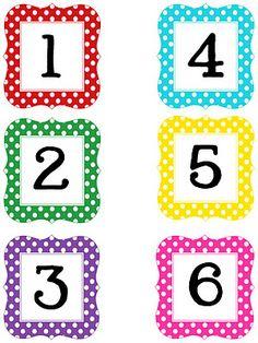 Multi Polka Dot Numbers Printable