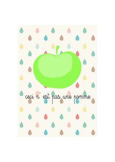 Apple poster - Ceci N'est Pas Une Pomme - Print of my original illustration. €15,00, via Etsy.