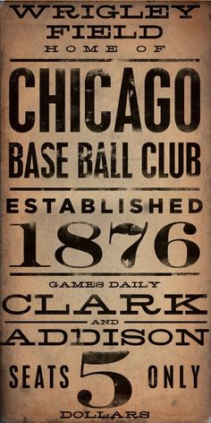 Wrigley Field Chicago Cubs Baseball Vintage Style Typography Giclee Archival Print