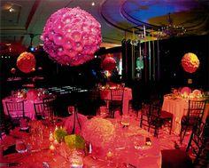 decor wedding, gerber daisies, flower ball, centerpiec, hanging flowers, pink weddings, wedding flowers, reception flowers, parti