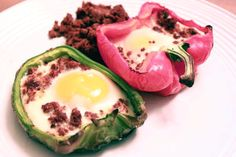 Eggs in peppers with chorizo - tastes awesome!