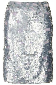 Silver Sequin Pencil Skirt #DearTopshop