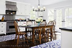 Without a doubt, we vote SoulCycle cofounder Elizabeth Cutler's kitchen the best-styled kitchen of 2013. Located in the Hamptons, we appreciate the space's use of texture and pattern. The blue and white Ikea runners help to infuse a bit of Scandinavian style into the otherwise early American-focused decorating scheme. Source: Domaine