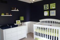 Navy and lime green nursery for a boy