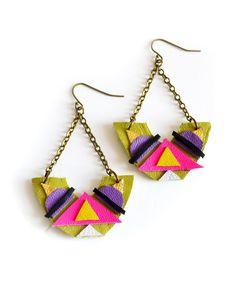 earring tribal, earring inspir, motiff lime, triangles, triangl motiff