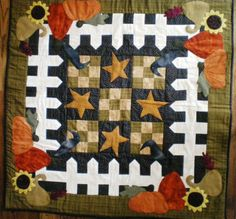 Picket Fence Seasons - Fall-wool appliqued wallhanging pattern
