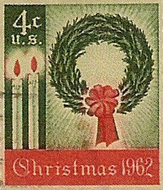 1962_11_01 $.04 This is the first Christmas stamp issued by the United States. It was intended for use on season's greeting cards and also to remind the public to shop and mail early. It depicts an evergreen wreath and burning candles.