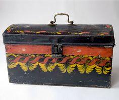Antique American Folk Art Painted Toleware Document Box