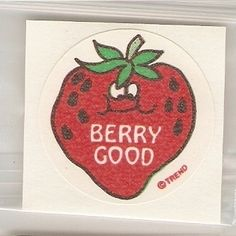 CLASSIC! An 80's STRAWBERRY scratch n sniff sticker. This is the ultimate in 80's greatness because strawberries were so very 80's, thanks to Strawberry Shortcake.