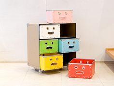 colorful design, storage boxes, kid storag, design decor, funny faces