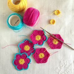 Crochet flowers for a garland by Bobbi Lewin
