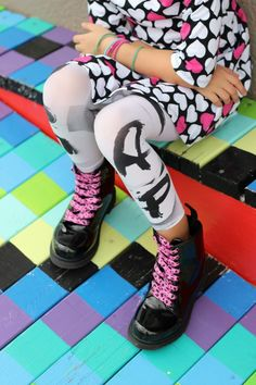 Love these leggings!!! Make your own graffiti inspired fashions with 3 items you probably already have at home.