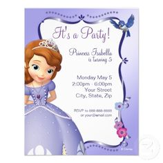 Sofia the first birthday cakes | Personalized Sophia the First Invitations so cute lord willing if we ever have a girl or maybe someone else can use it