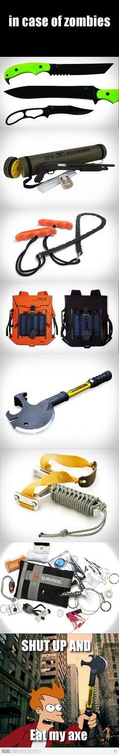 Zombie Apocalypse survival gear is ALWAYS cool..