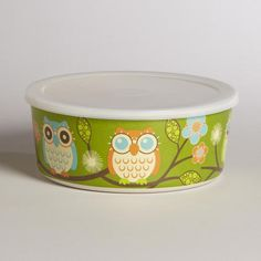 One of my favorite discoveries at WorldMarket.com: Medium Green Owl Bamboo Bowl with Lid