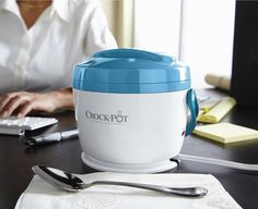 Crock-Pot® Lunch Crock: Hot lunch at your desk! Warm up your food gently and slowly at your desk and enjoy the comfort of amazing 'home cooked' meals at work. Easily transport food to and from home with the removable, dishwasher safe food container which has a lid and a handle and leave the heating base at the office. 20 oz capacity. Available in a variety of colors.   #Lunch_Crockpot