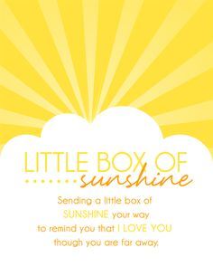 Little Box of Sunshine - Care Package Ideas. shopringmasters.com