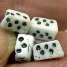 Vintage JAPANESE Rare Dice White Black Glass Beads 8mm pkg4 gl615 ...