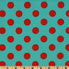 Michael Miller Quarter Dot Aqua from @fabricdotcom  Designed for Michael Miller Fabrics, this cotton print features 3/4'' red polka dots on an aqua background. Use for quilting and craft projects.