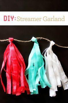 How to create easy party decor - #DIY Streamer Garland via brewedtogether.com