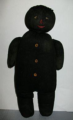 Antique Black Folk Art Miniature Child's Church Doll