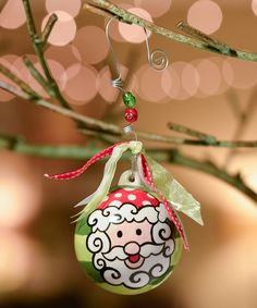 Loving this Santa & Stripe Ball Ornament on #zulily! #zulilyfinds