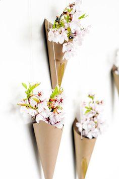 Hanging Flower Cones DIY, Image Via: Victoria Hudgins | A Subtle Revelry