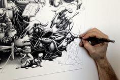 A Triptych - The Landing- 2012 - Left Panel by Joe Fenton, via Behance