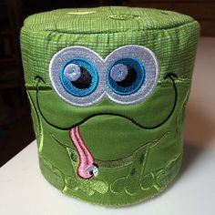 Frog Toilet Paper Roll Cover Embroidered Kitsch Silly Bathroom Decor