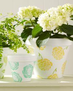 Perked-Up Planters Martha Stewart Crafts Glass Paint #DIY #crafts #MarthaStewart