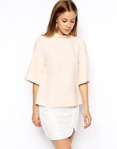 Boxy top with high neck and kimono sleeve in beautiful powder pink