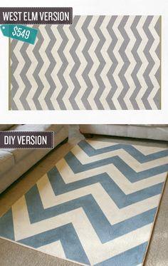 Best decoration DIY post I've seen in ages!!!! | 24 West Elm Hacks | Chevron print carpet via BuzzFeed