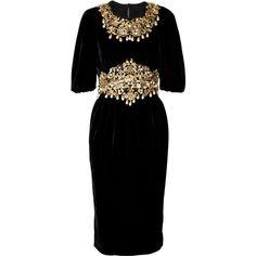 Dolce & Gabbana Embellished velvet dress ($9,660) ❤ liked on Polyvore