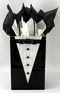 DIY tuxedo gift bag for groomsmen gifts