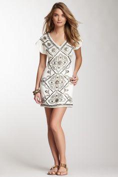 Hale Bob Short Sleeve V-Neck Silk Blend Dress